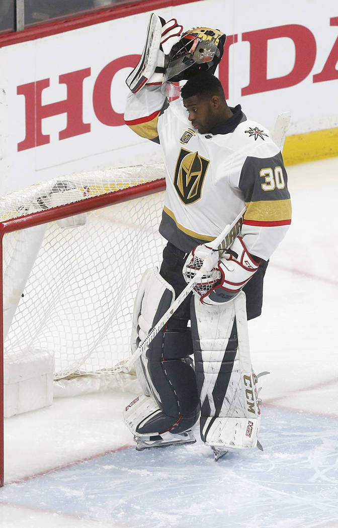 Vegas Golden Knights goalie Malcolm Subban plays against the Minnesota Wild in the first period of an NHL hockey game Friday, Feb. 2, 2018, in St. Paul, Minn. (AP Photo/Jim Mone)