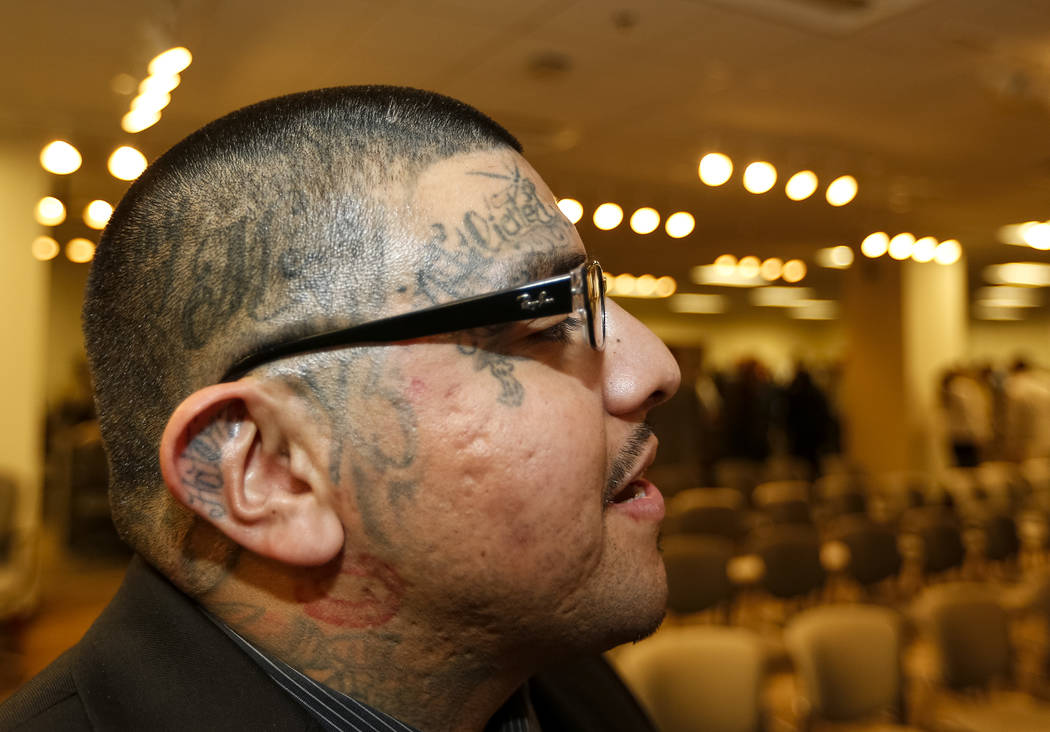 Former gang member Andrew Arevalo during the Hope for Prisoners graduation ceremony at the Las Vegas Metropolitan Police Headquarters in Las Vegas on Friday, Feb. 23, 2018. Richard Brian Las Vegas ...