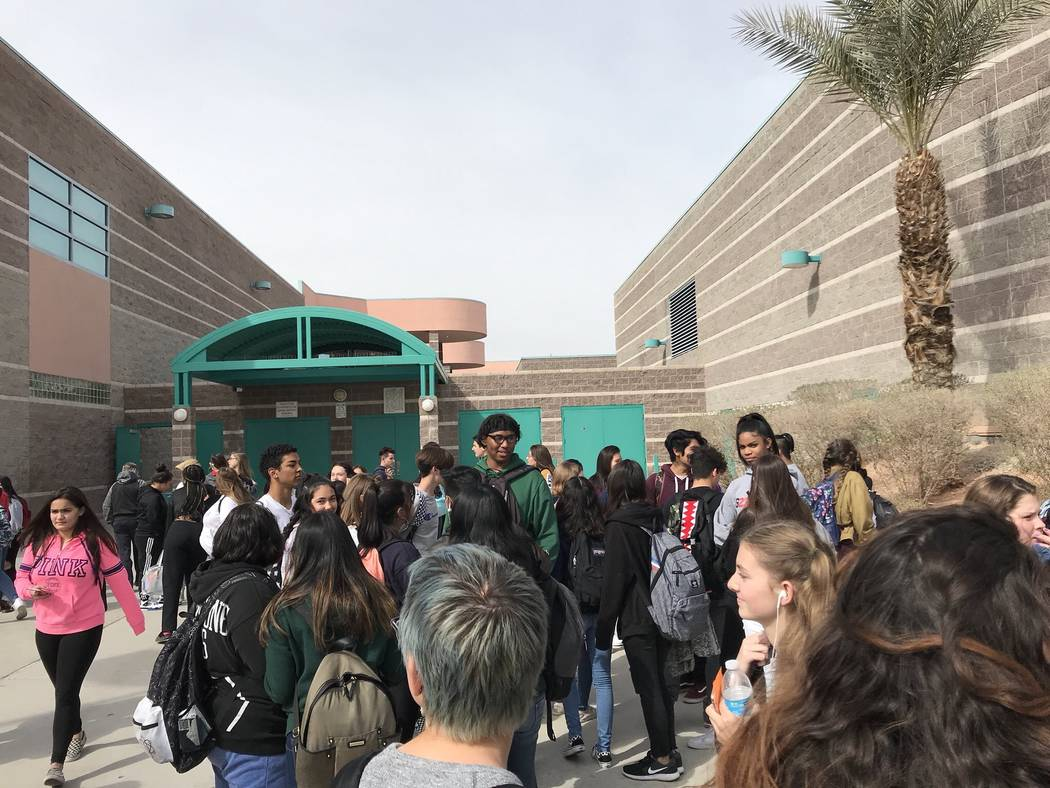 Students at Silverado High School walked out of the building for 17 minutes on Wednesday, Feb. 21, 2018, calling for gun control.  Credit: @cateiguess/Twitter