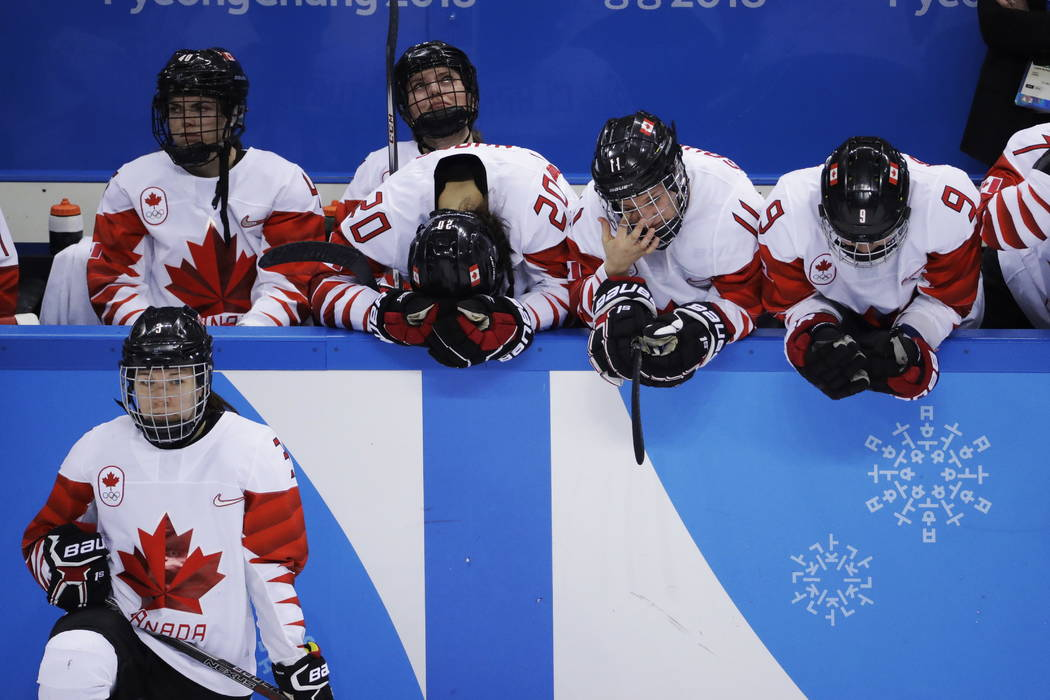 Canada reacts after losing in a shootout to the United States in the women's gold medal hockey game at the 2018 Winter Olympics in Gangneung, South Korea, Thursday, Feb. 22, 2018. (AP Photo/Matt S ...