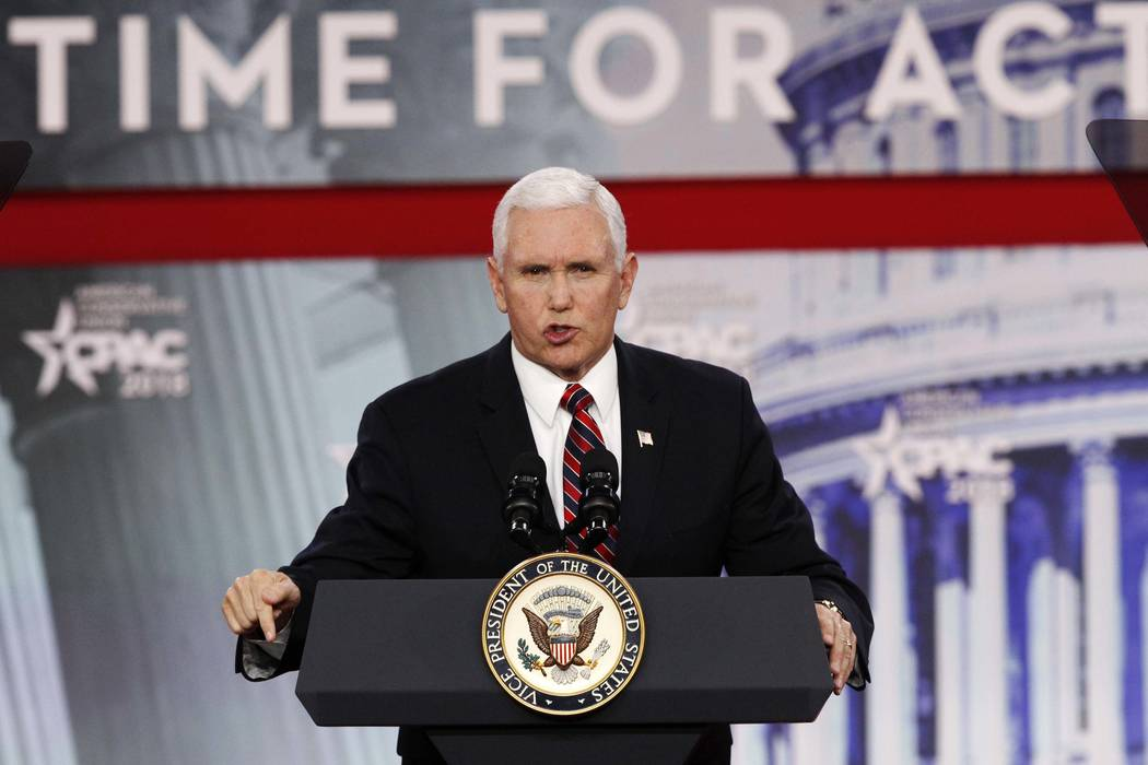 Vice President Mike Pence speaks at the Conservative Political Action Conference at National Harbor Maryland Thursday Feb. 22 2018. Pence said that in a meeting with governors at the White Ho