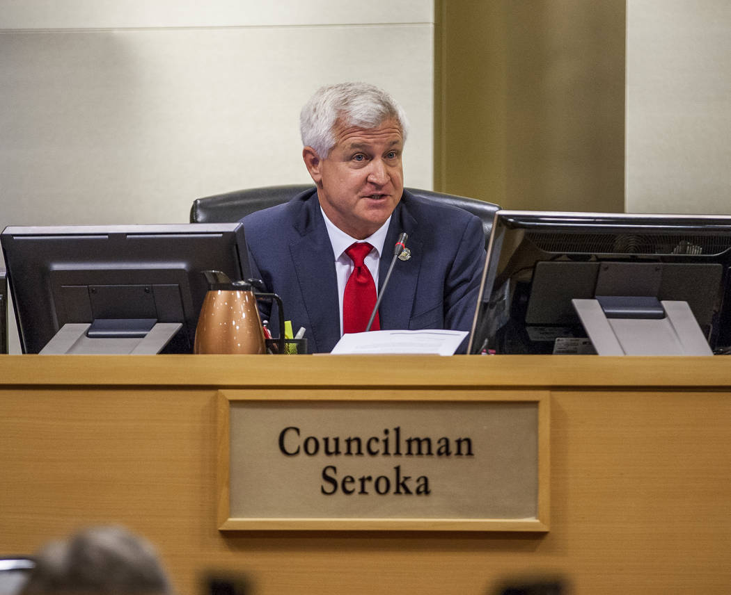 Councilman Steve Seroka voices his concerns about the Badlands golf course development at a City Council meeting at Las Vegas City Hall on Wednesday, August 2, 2017. (Patrick Connolly Las Vegas Re ...