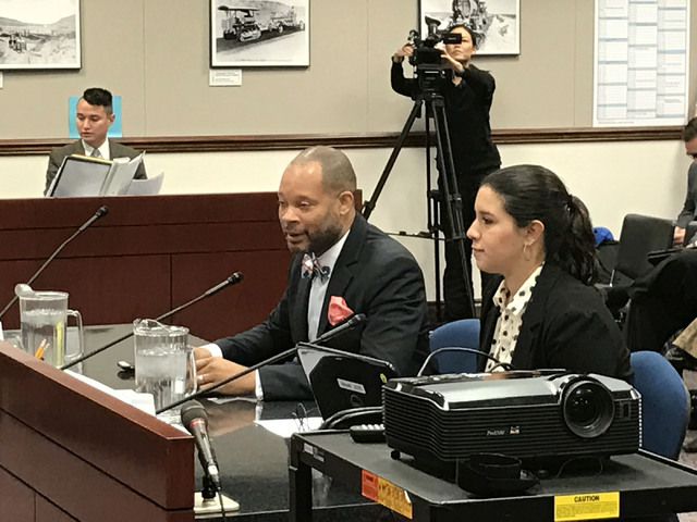 Democratic Majority Leader Aaron Ford, left, and state Sen. Yvanna Cancela, D-Las Vegas, present Senate Bill 106 Monday, Feb. 20, 2017 in Carson City. The bill would increase Nevada's minimum wage ...