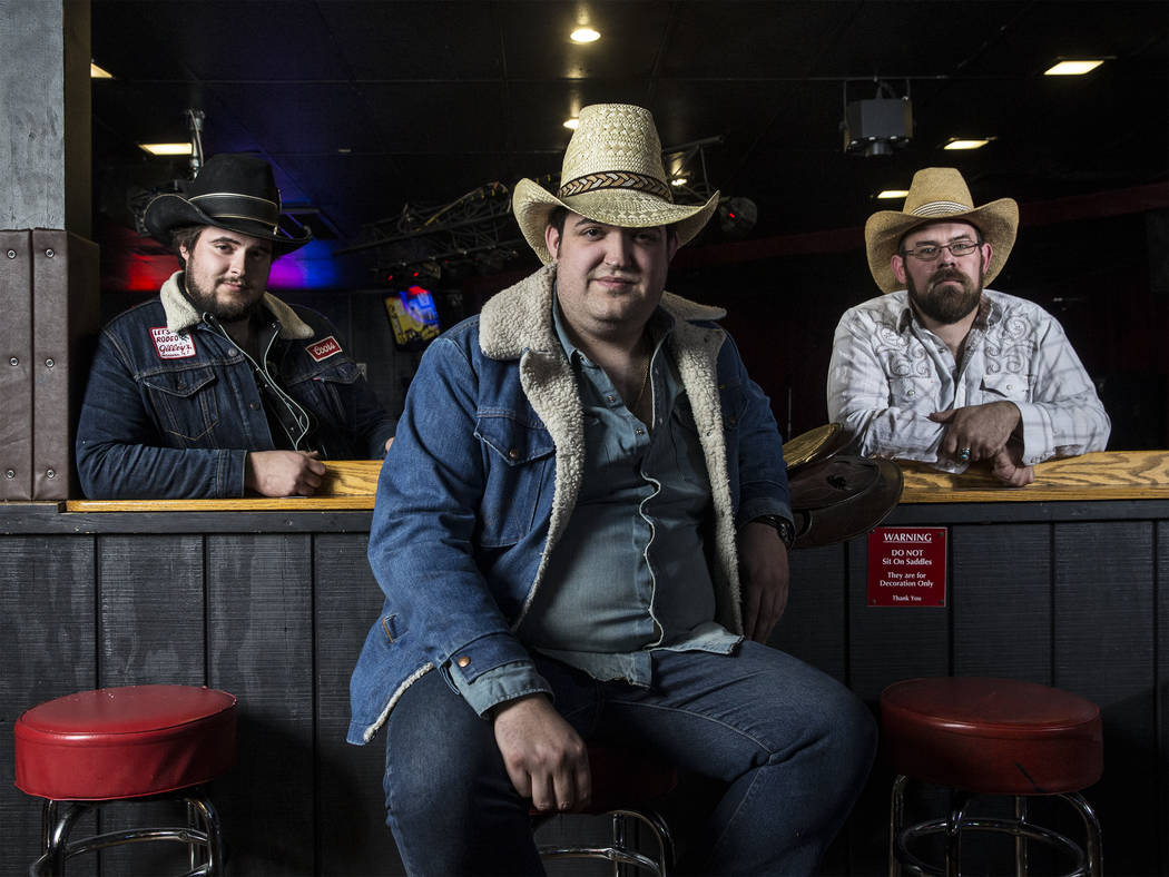The Reeves Brothers, an ameripolitan country music band from Pahrump, NV. From left: Cole Reeves, Matt Reeves and Kelly Bishop on Wednesday, February 21, 2018, at Saddle N Spurs Saloon, in Las Veg ...
