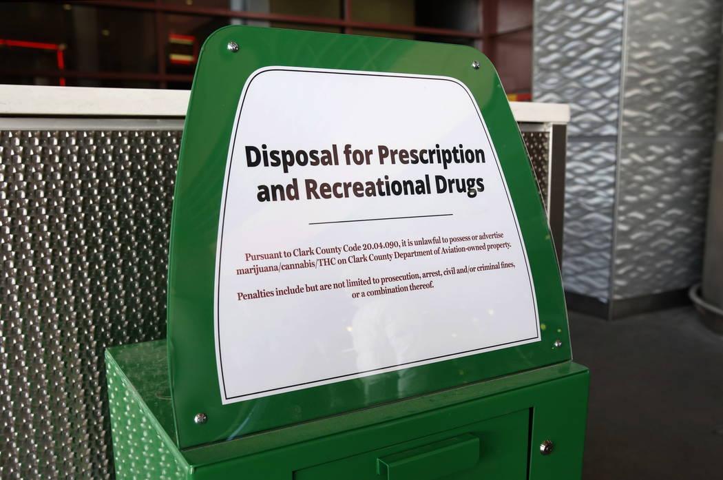 A recently installed marijuana amnesty drop box is shown at McCarran International Airport on Thursday, Feb.  22, 2018, in Las Vegas. Bizuayehu Tesfaye/Las Vegas Review-Journal @bizutesfaye