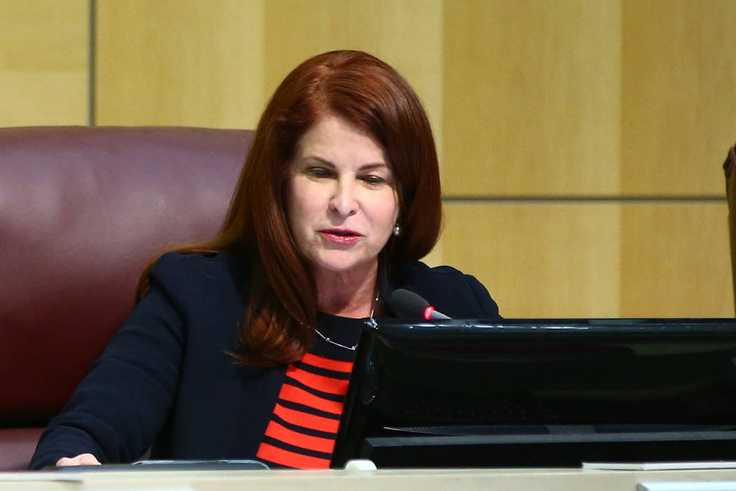 Henderson Mayor Debra March, right, talks during a Feb. 20 meeting. (Chase Stevens Las Vegas Review-Journal)