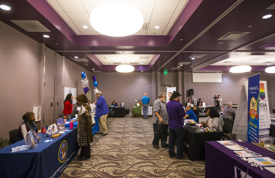People visit the annual LGBTQ health fair at The Center, also known as the Gay and Lesbian Community Center of Southern Nevada, in Las Vegas on Thursday, Feb. 22, 2018. Chase Stevens Las Vegas Rev ...