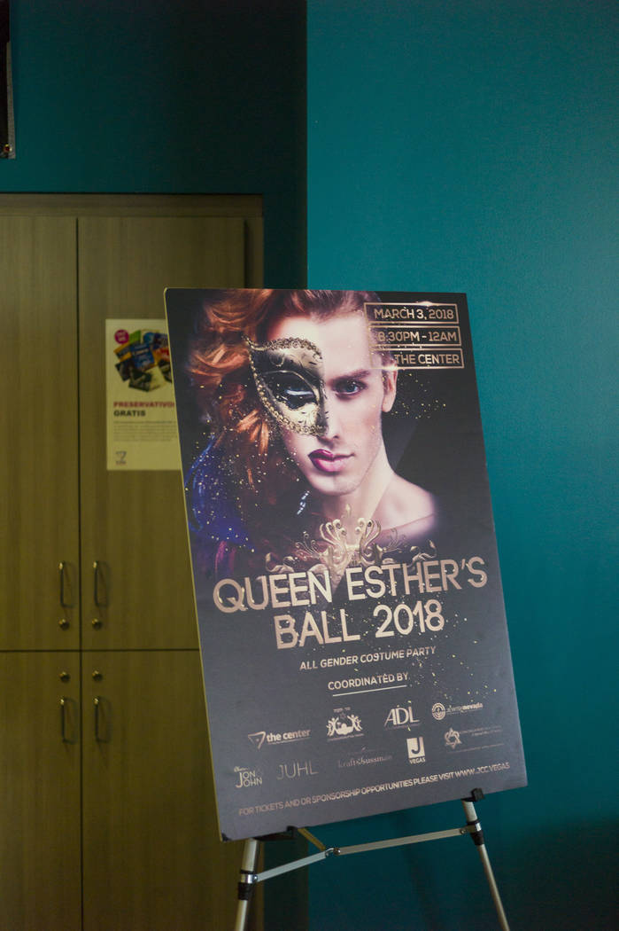 An advertisement for Queen Esther's Ball at The Center, also known as the Gay and Lesbian Community Center of Southern Nevada, in Las Vegas on Thursday, Feb. 22, 2018. Chase Stevens Las Vegas Revi ...
