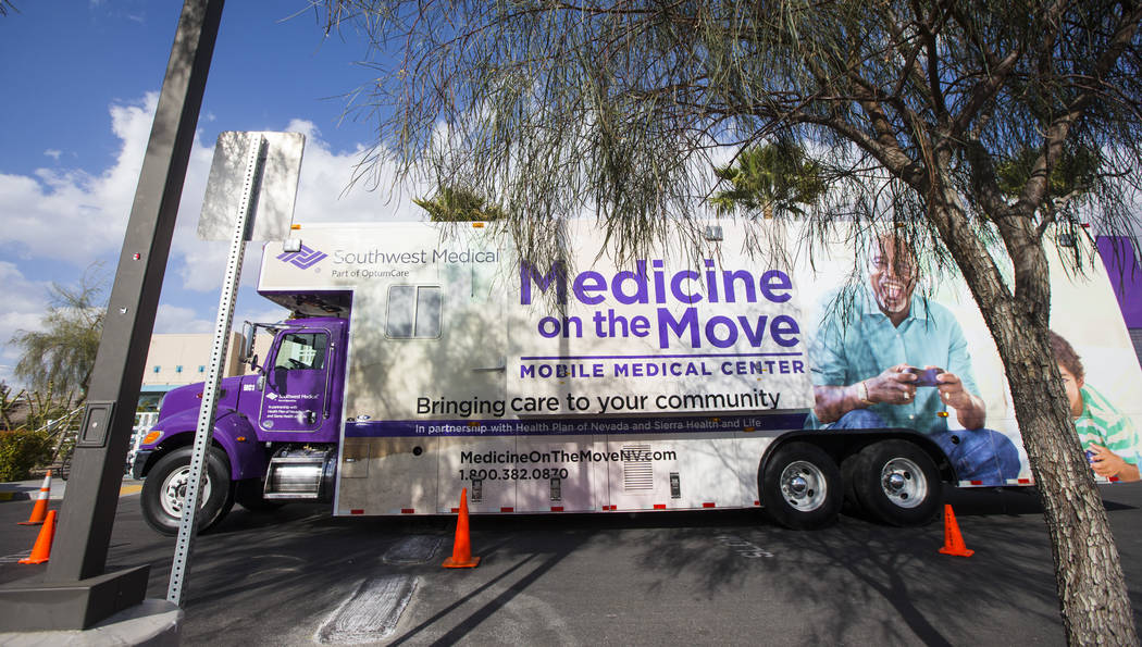 A Southwest Medical vehicle onsite for the annual LGBTQ health fair at The Center, also known as the Gay and Lesbian Community Center of Southern Nevada, in Las Vegas on Thursday, Feb. 22, 2018. C ...