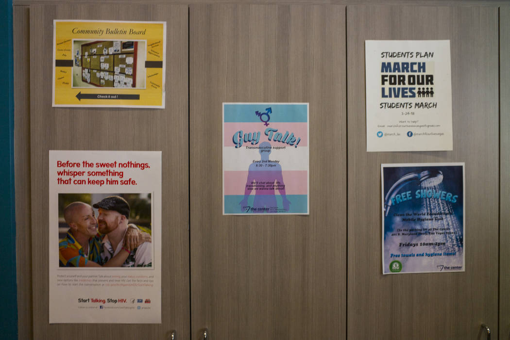 Advertisements at The Center, also known as the Gay and Lesbian Community Center of Southern Nevada, in Las Vegas on Thursday, Feb. 22, 2018. Chase Stevens Las Vegas Review-Journal @csstevensphoto