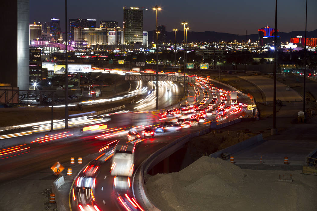Traffic moves along Interstate 15 as seen from the Spaghetti Bowl in Las Vegas on Sunday, January 28, 2018. (Richard Brian/Las Vegas Review-Journal @vegasphotograph)