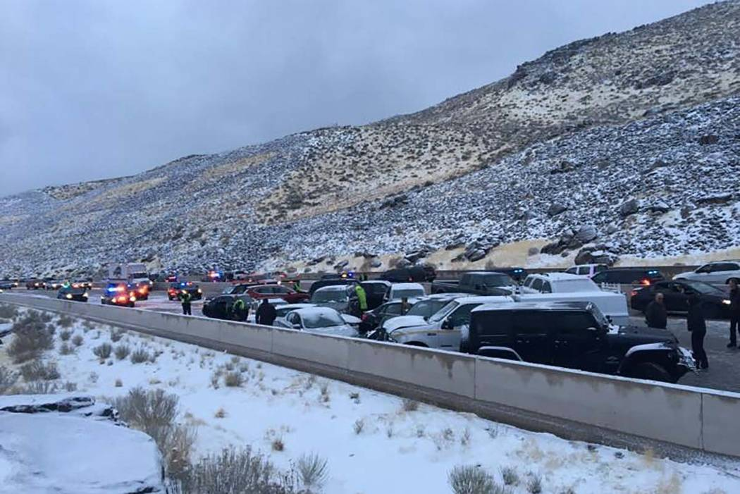 The Nevada Highway Patrol investigate a 35-vehicle pileup between Reno and Carson City, Thursday, Feb. 22, 2018. (Nevada Highway Patrol)