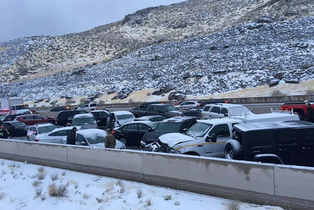 The Nevada Highway Patrol investigates a 35-vehicle pileup between Reno and Carson City, Thursday, Feb. 22, 2018. (Nevada Highway Patrol)
