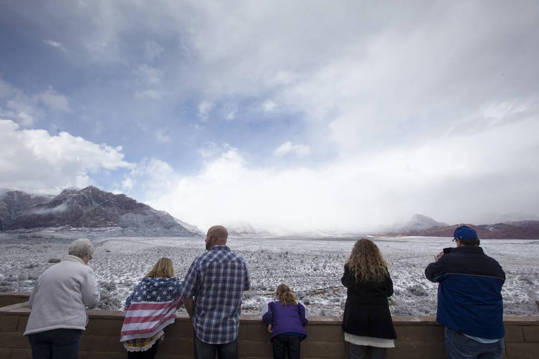 Snowfall at Red Rock Canyon Overlook on Friday, Feb. 23, 2018. Richard Brian Las Vegas Review-Journal @vegasphotograph