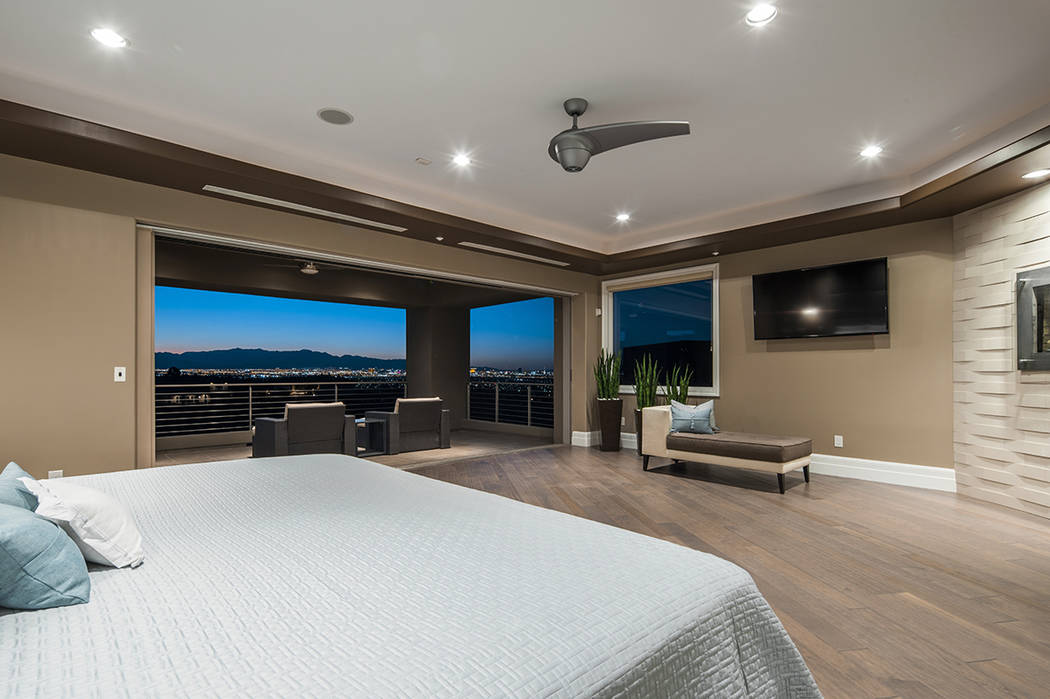 The master bedroom showcases indoor-outdoor living features. (Shapiro & Sher Group)
