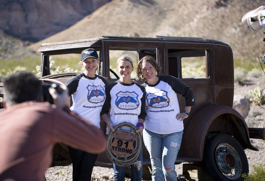 Route 91 Harvest survivors Christine Caria, from left, Lisa Fine, Jennifer Holub pose during a photoshoot for survivors at the Eldorado Canyon Mine in Nelson, Nevada on Sunday, Feb. 25, 2018. Rich ...