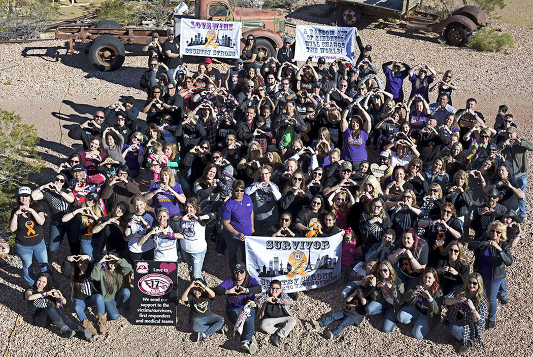 Route 91 Harvest survivors gather for a group photo at the Eldorado Canyon Mine in Nelson, Nevada on Sunday, Feb. 25, 2018. Richard Brian Las Vegas Review-Journal @vegasphotograph