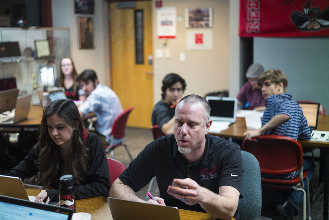Jacob Thompson, director of the UNLV Debate Team, during a group meeting at UNLV in Las Vegas on Wednesday, Jan. 31, 2018. The team is ranked as one of the top debate programs in the country. (Cha ...