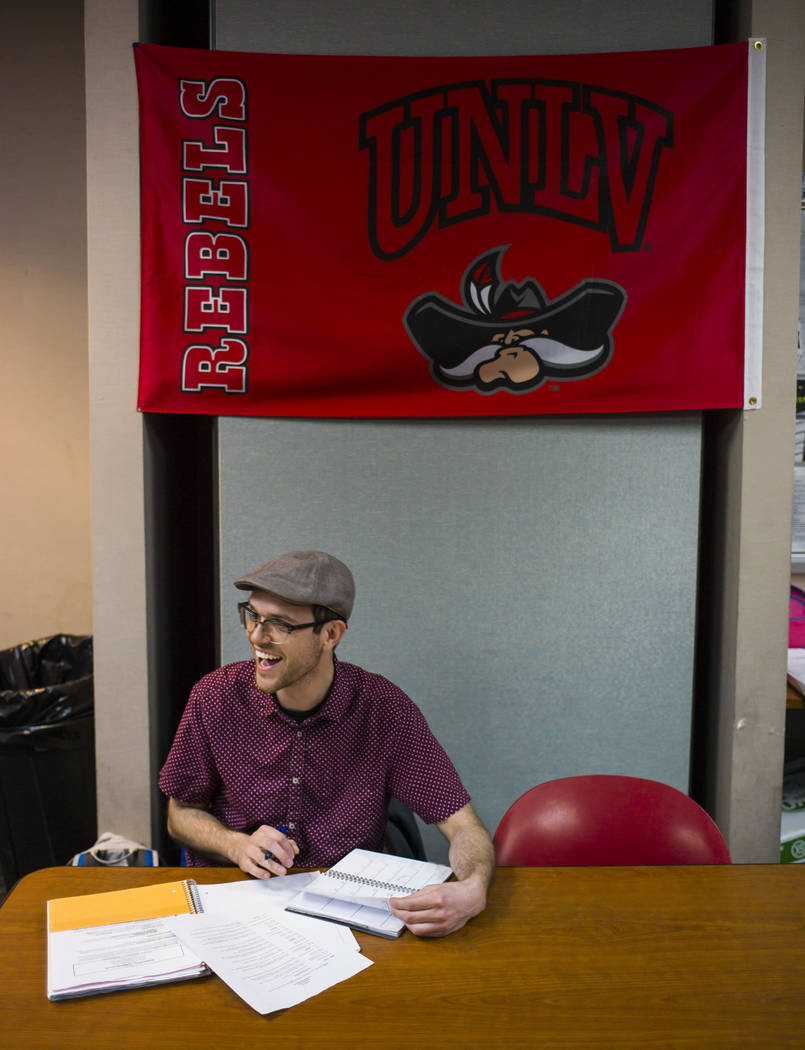 UNLV Debate Team member Joe Bradley during a group meeting at UNLV in Las Vegas on Wednesday, Jan. 31, 2018. The team is ranked as one of the top debate programs in the country. (Chase Stevens/Las ...