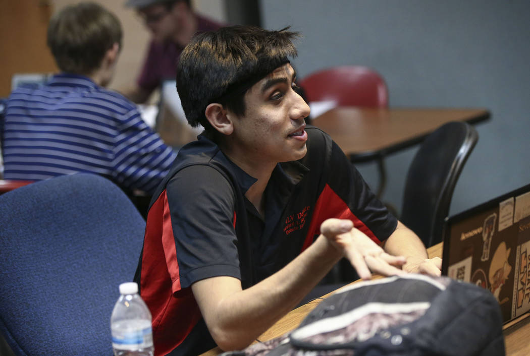 UNLV Debate Team member Reece Aguilar during a group meeting at UNLV in Las Vegas on Wednesday, Jan. 31, 2018. The team is ranked as one of the top debate programs in the country. (Chase Stevens/L ...