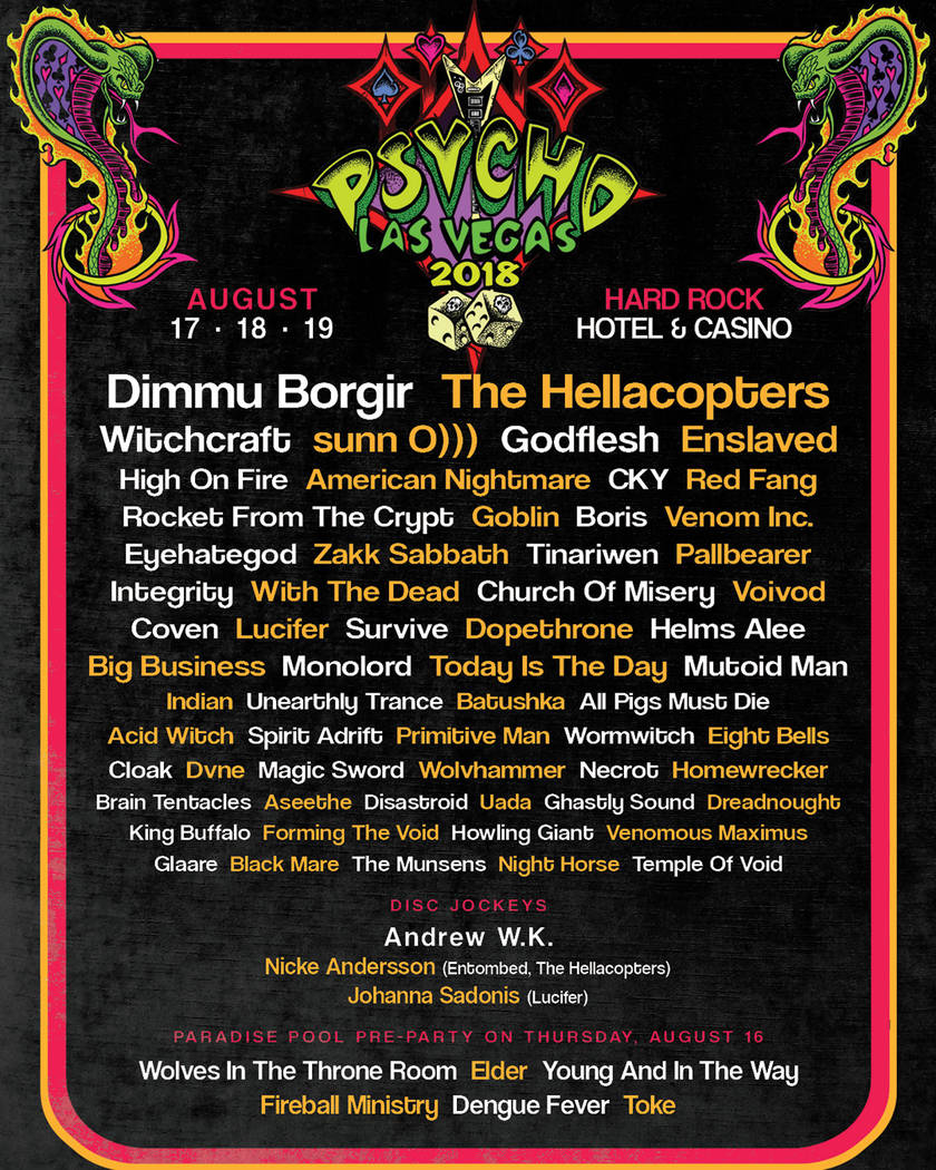 The Psycho Las Vegas lineup. Psycho Las Vegas