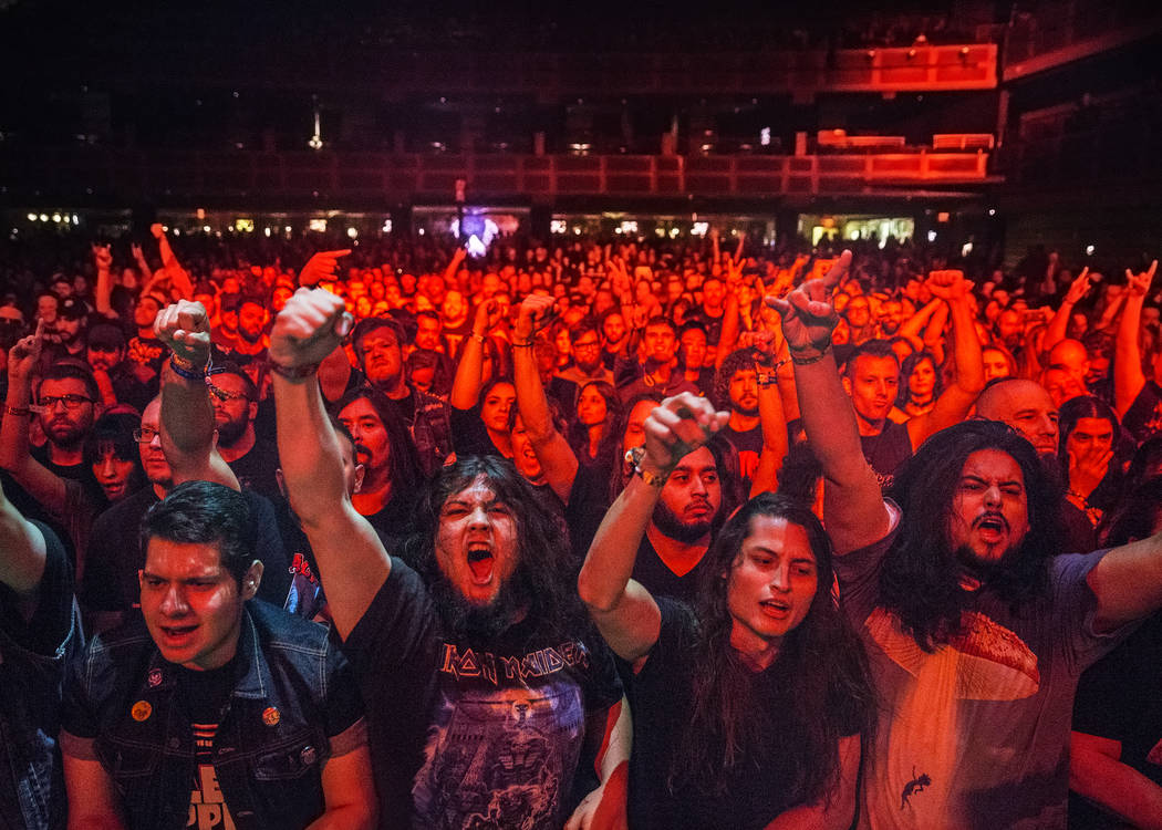 Fans cheer for British extreme metal band Carcass at The Joint during Psycho Las Vegas on Saturday, Aug 19, 2017, at the Hard Rock hotel-casino, in Las Vegas. Benjamin Hager Las Vegas Review-Journ ...