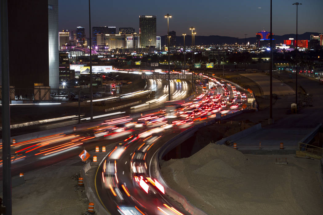 Traffic moves along Interstate 15 as seen from the Spaghetti Bowl in Las Vegas on Sunday, January 28, 2018. (Richard Brian/Las Vegas Review-Journal)