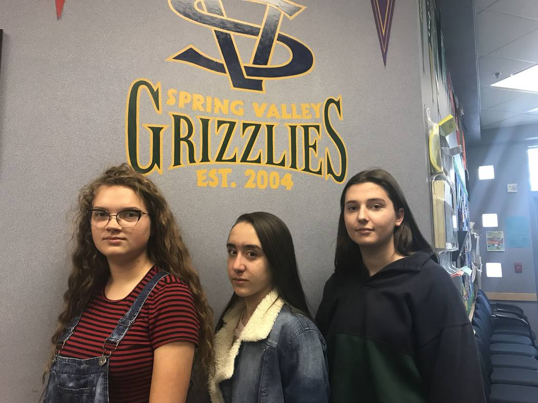 Spring Valley students Charlotte Jones, 15, from left, Karoline Binelo, 16, and Mia Trotchie, 15, at Spring Valley High School on Friday, Feb. 23, 2018, Jones, Binelo and Trotchie are planning a m ...