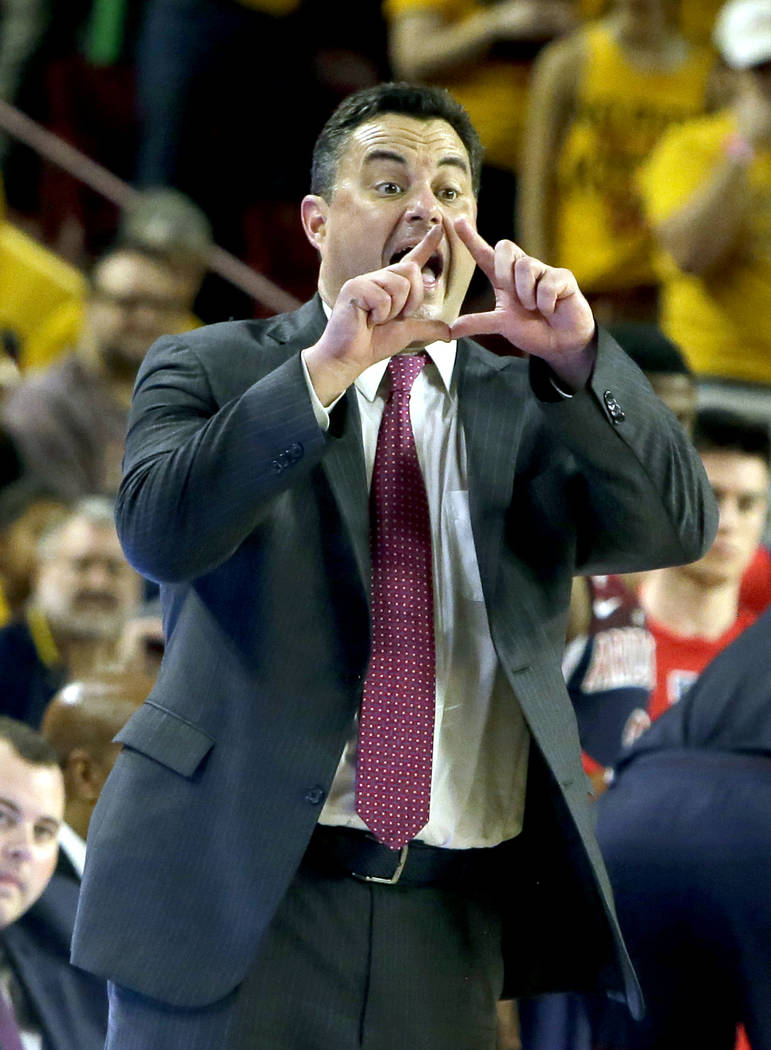 Arizona head coach Sean Miller in the second half during an NCAA college basketball game against Arizona State, Thursrday, Feb. 15, 2018, in Tempe, Ariz. Arizona defeated Arizona State 77-70. (AP  ...