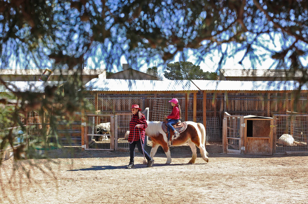 Judith Roberts leads Holly Guthrie, 7, on a pony ride at the J.R. Pony Farm in Las Vegas, Wednesday, Feb. 28, 2018. The city of Las Vegas wants to annex 872 acres of land that would affect   more  ...