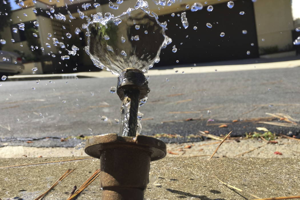 Water runs off from a sprinkler in Mount Olympus, a neighborhood in the Hollywood Hills area of Los Angeles, in 2015. (AP Photo/Damian Dovarganes, File)