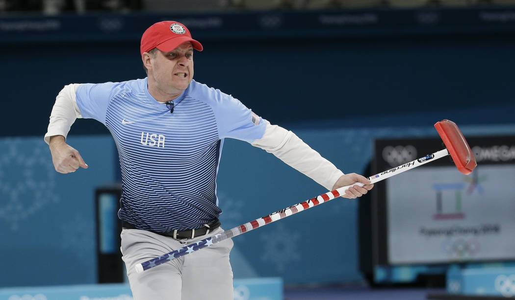 United States's skip John Shuster reacts during the men's final curling match against Sweden at the 2018 Winter Olympics in Gangneung, South Korea, Saturday, Feb. 24, 2018. (AP Photo/Natacha Pisar ...