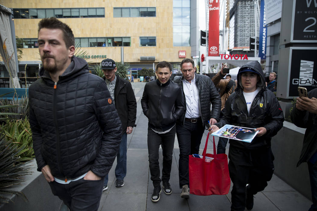 "Gennady Golovkin arrives for a press conference at L.A. Live in Los Angeles, Calif., Tuesday, Feb. 27, 2018. Golovkin is fighting Saul ""Canelo"" Alvarez for a rematch in Las Vegas on May  ..."