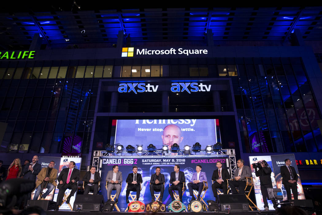 """A press conference for the upcoming fight between Saul """"Canelo"""" Alvarez and Gennady Golovkin, at Microsoft Square in Los Angeles, Calif., Tuesday, Feb. 27, 2018. Erik Verduzco Las Vegas  ..."""