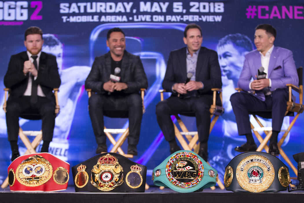 "Boxing title belts on display during a boxing press conference for the upcoming fight between Saul ""Canelo"" Alvarez and Gennady Golovkin, at Microsoft Square in Los Angeles, Calif., Tues ..."