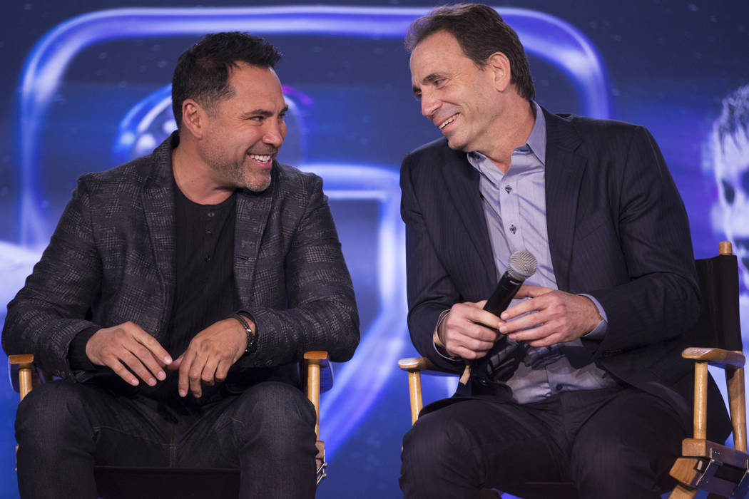 Boxing promoters Oscar De La Hoya, left, and Tom Loeffler, during a press conference at Microsoft Square in Los Angeles, Calif., Tuesday, Feb. 27, 2018. Erik Verduzco Las Vegas Review-Journal @Eri ...