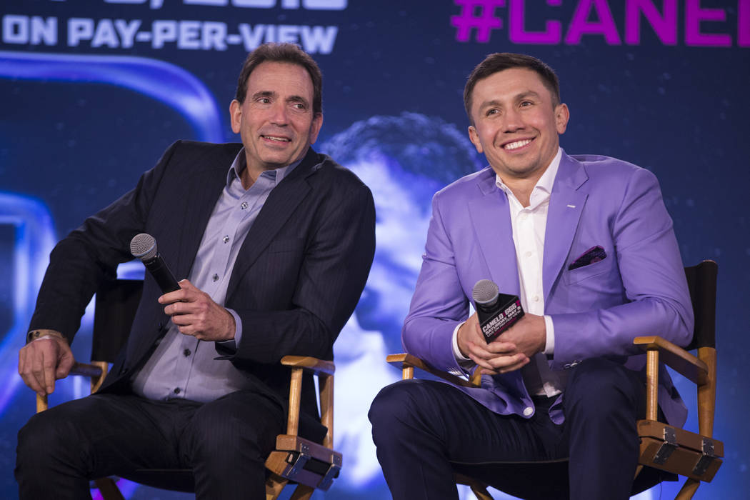 Boxing promoter Tom Loeffler, left, and boxer Gennady Golovkin, during a press conference at Microsoft Square in Los Angeles, Calif., Tuesday, Feb. 27, 2018. Erik Verduzco Las Vegas Review-Journal ...