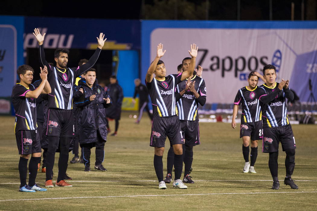 Las Vegas Lights FC players thank their fans after their 4-2 loss against D.C. United in the exhibition soccer game at Cashman Field in Las Vegas, Saturday, Feb. 24, 2018. Erik Verduzco Las Vegas  ...