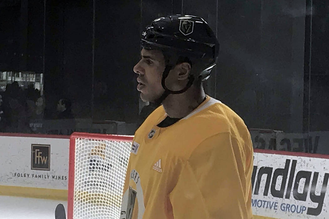 Ryan Reaves practices with the Golden Knights on Sunday. (Steve Carp/Las Vegas Review-Journal)