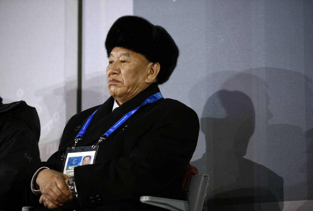 Kim Yong Chol, vice chairman of North Korea's ruling Workers' Party Central Committee, watches the closing ceremony of the 2018 Winter Olympics in Pyeongchang, South Korea, Sunday, Feb. 25, 2018.  ...