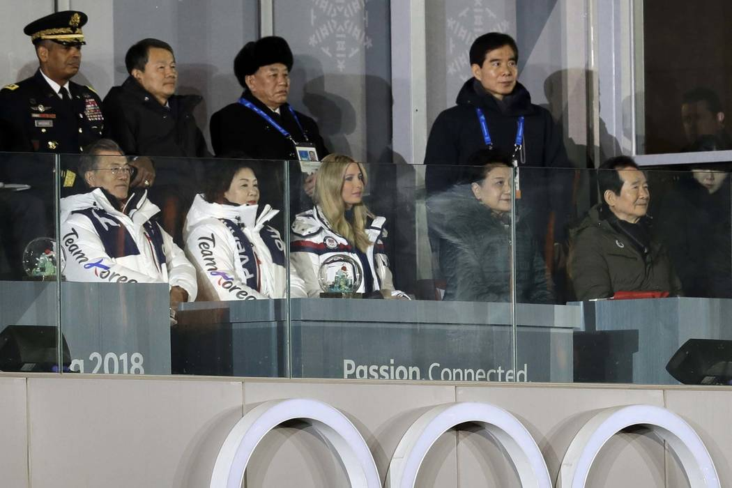 From front row left, South Korean President Moon Jae-in, his wife, Kim Jung-sook, and Ivanka Trump, U.S. President Donald Trump's daughter, watch the closing ceremony of the 2018 Winter Olympics a ...