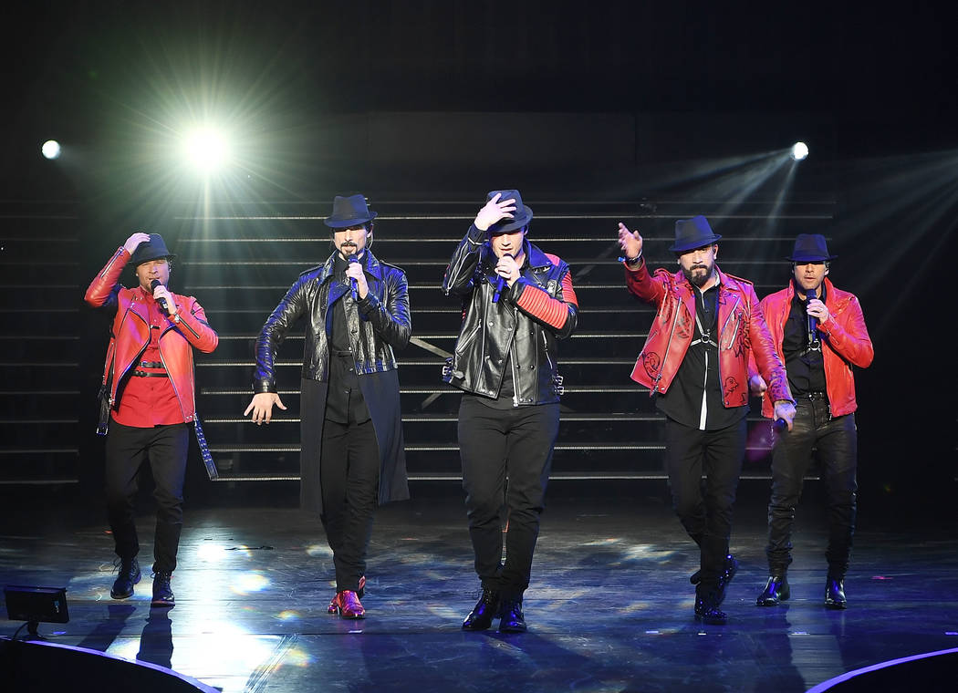 """Opening night of The Backstreet Boys residency """"Larger Than Life"""" at Axis at Planet Hollywood on Wednesday, March 1, 2017, in Las Vegas. (Denise Truscello/WireImage)"""