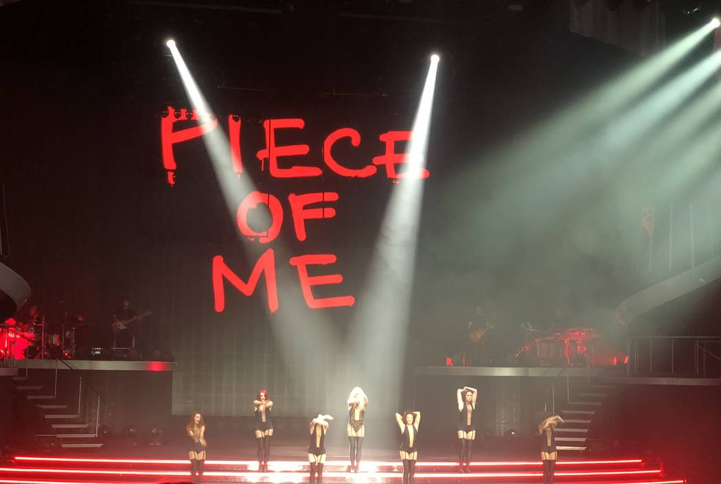 """Britney Spears is shown in her final performance of """"Piece of Me"""" at Axis theater at Planet Hollywood on Sunday, Dec. 31, 2017. (John Katsilometes/Las Vegas Review-Journal) @JohnnyKats"""