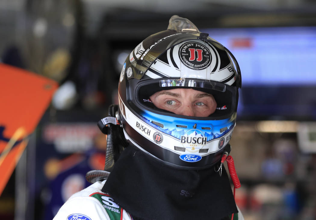 Monster Energy NASCAR Cup Series driver Kevin Harvick (4) is shown during practice for Sunday's NSCAR Cup series auto race at Atlanta Motor Speedway in Hampton, Ga., on Saturday, Feb. 24, 2018. (A ...