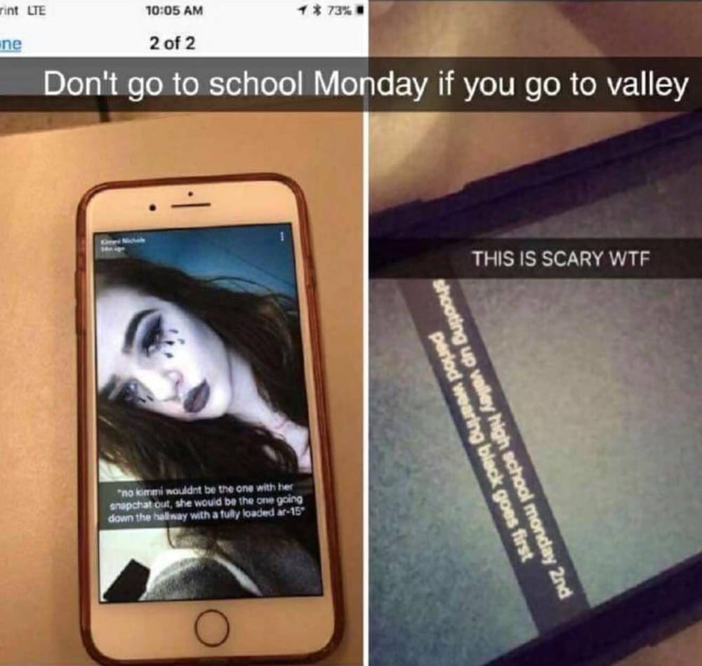 Threats circulating on social media this weekend of a planned high school shooting last Monday morning originated in Alabama, Clark County School District police confirmed Sunday. (Snapchat/Screen ...