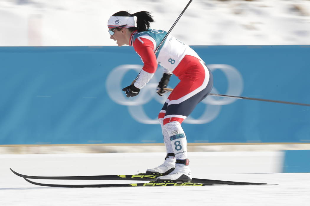 Marit Bjoergen, of Norway, competes in the women's 30k cross-country skiing competition at the 2018 Winter Olympics in Pyeongchang, South Korea, Sunday, Feb. 25, 2018.(AP Photo/Dmitri Lovetsky)