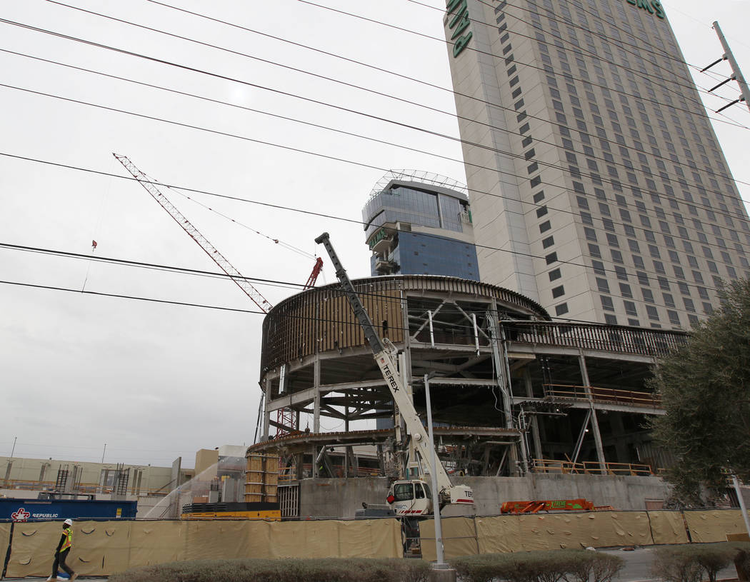 Construction continues on the new pool club and nightclub at the Palms Tuesday, Feb. 27, 2018. The venues will be operated in partnership with Tao Group. K.M. Cannon Las Vegas Review-Journal @KMCa ...