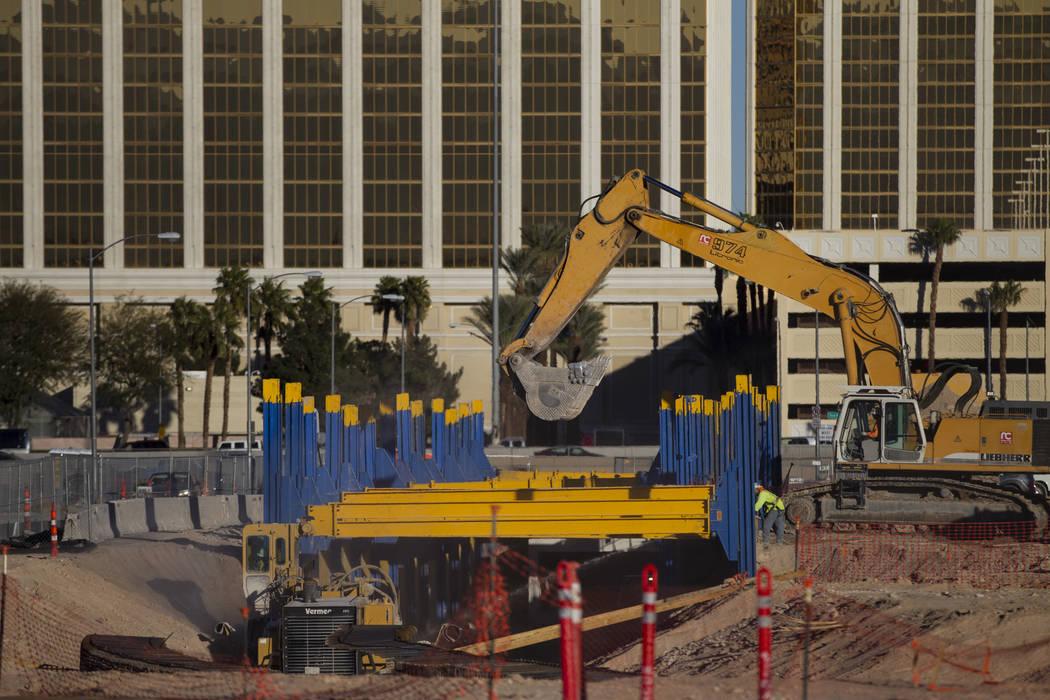 The site of the future Raiders football stadium in Las Vegas, Thursday, Feb. 15, 2018. (Erik Verduzco/Las Vegas Review-Journal) @Erik_Verduzco
