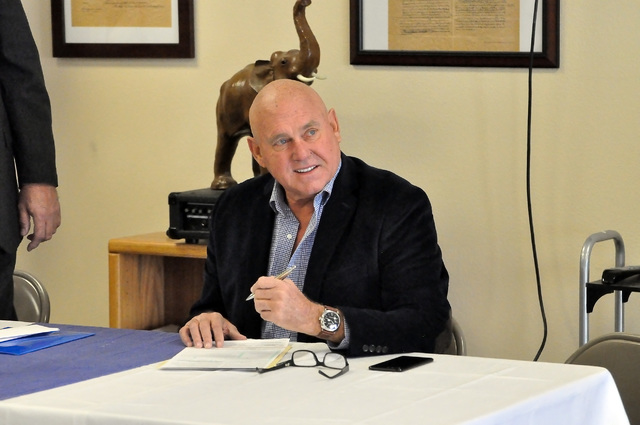 Business owner and former Nevada Assembly District 36 candidate Dennis Hof switched his affiliation from Libertarian to Republican on Tuesday. Hof said he might run for an office again. (Horace La ...