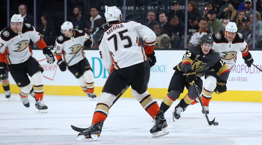 Vegas Golden Knights left wing Brendan Leipsic (13) chases after the pucks during the first period of the game against Anaheim Ducks at T-Mobile Arena in Las Vegas, Tuesday, Dec. 5, 2017. Bridget  ...